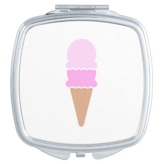 Cute Double Scoop Pink Ice Cream Cone Travel Mirror