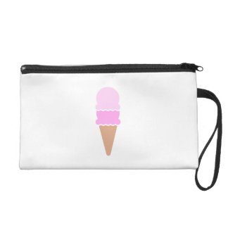 Cute Double Scoop Pink Ice Cream Cone Wristlet