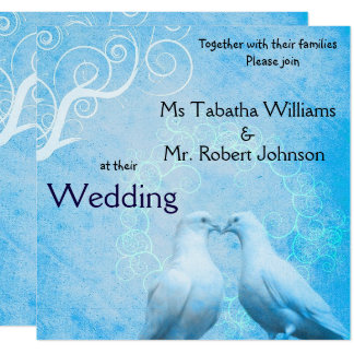 Cute Doves Square Wedding Invitation