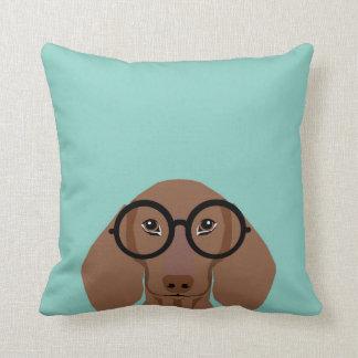 Cute Doxie with Hipster Fashion Glasses - Daschund Cushion