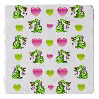 Cute Dragon And Hearts Trivet