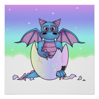 Cute Dragon Baby in Cracked Egg - Blue Purple Poster