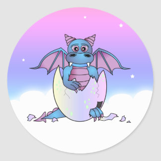 Cute Dragon Baby in Cracked Egg - Blue / Purple Round Sticker