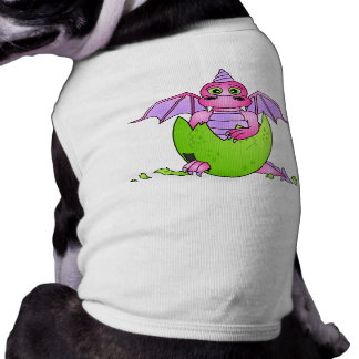 Cute Dragon Baby in Cracked Egg - Pink / Purple Sleeveless Dog Shirt