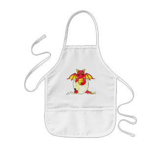 Cute Dragon Baby in Cracked Egg - Red / Yellow Kids' Apron