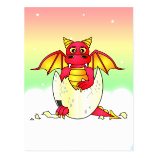 Cute Dragon Baby in Cracked Egg - Red / Yellow Postcard
