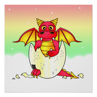 Cute Dragon Baby in Cracked Egg - Red Yellow Print