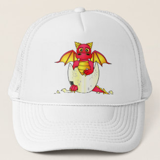 Cute Dragon Baby in Cracked Egg - Red / Yellow Trucker Hat