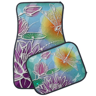 Cute Dragon Fly Pretty Summer Colors Modern Floral Car Mat