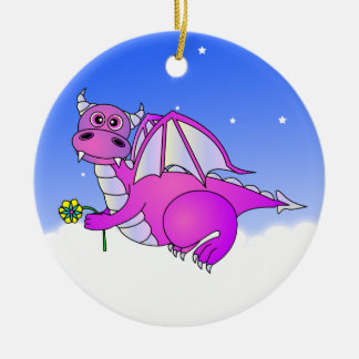 Cute Dragon Flying in the Clouds - Blue / Purple Round Ceramic Decoration