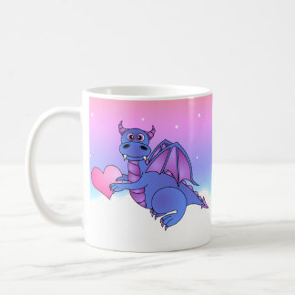 Cute Dragon Heart Mug Blue - Pink -Purple