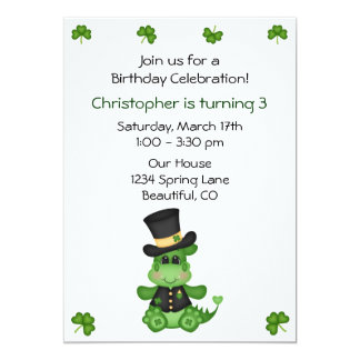 Cute Dragon St Patrick's Day Birthday Invite Boys