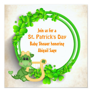 Cute Dragon St Patrick's Day Girls Baby Shower Card