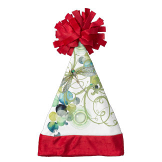 Cute dragonfly with abstract swirls & chic pearls santa hat