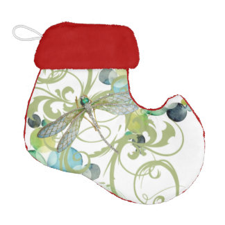 Cute dragonfly with abstract swirls & chic pearls elf christmas stocking