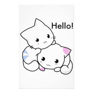 Cute Drawing of Boy and Girl Kitten in Love Customized Stationery