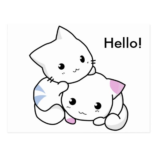 Cute Drawing of Boy and Girl Kitten in Love Postcard