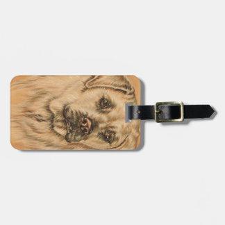 Cute Drawing of White Labrador Dog Luggage Tag