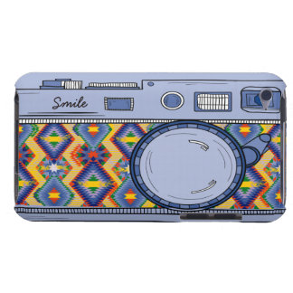Cute Drawing Retro Blue Photo Camera iPod Touch Barely There iPod Covers