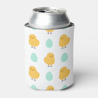 Cute drawn yellow chick and egg easter pattern can cooler
