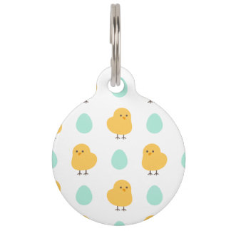 Cute drawn yellow chick and egg easter pattern pet tag