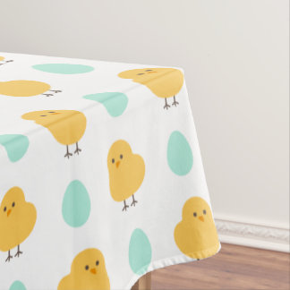 Cute drawn yellow chick and egg easter pattern tablecloth