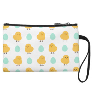 Cute drawn yellow chick and egg easter pattern wristlet