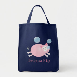Cute Dream Big Sleepy Pig Cartoon Tote Bag
