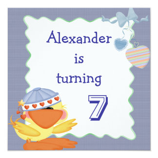 Cute Duck And Love Hearts 7th Birthday 13 Cm X 13 Cm Square Invitation Card