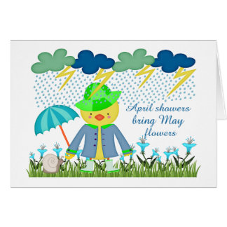 Cute Duck April Showers Bring May Flowers Card