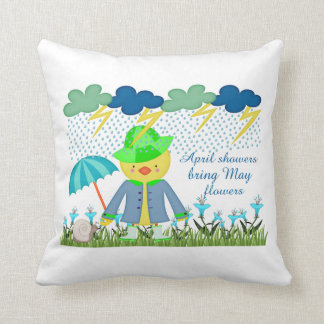 Cute Duck April Showers Bring May Flowers Pillows