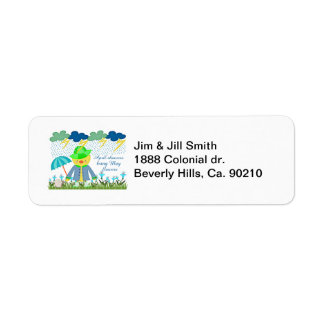 Cute Duck April Showers Bring May Flowers Return Address Label