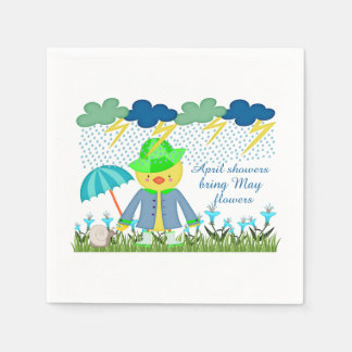 Cute Duck April Showers Bring May Flowers Paper Napkin