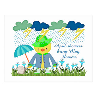 Cute Duck April Showers Bring May Flowers Postcard