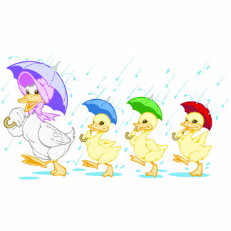 Cute Duck Family in Rain Standing Photo Sculpture