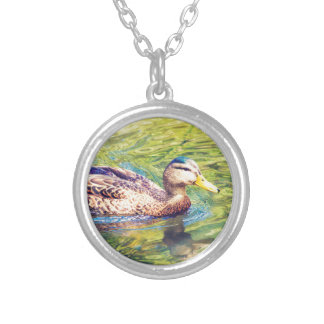Cute Duck Swimming Silver Plated Necklace