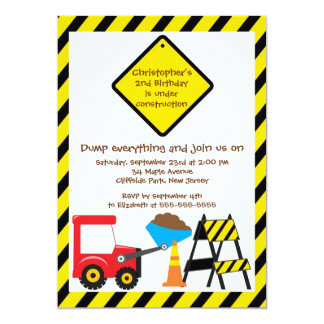 Cute Dump Trucks Boys Birthday Party Invitations