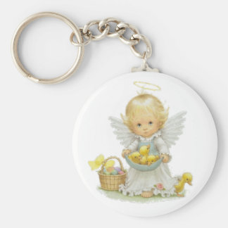 Cute Easter Angel And Ducklings Basic Round Button Key Ring