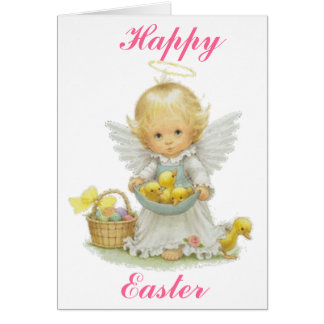 Cute Easter Angel And Ducklings Card