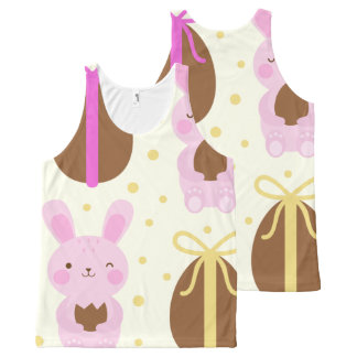 Cute Easter bunnies and chocolate eggs pattern All-Over Print Singlet