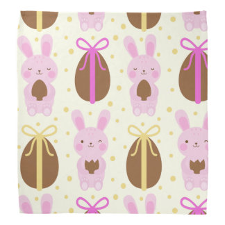 Cute Easter bunnies and chocolate eggs pattern Bandana