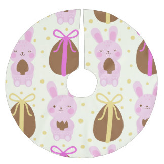 Cute Easter bunnies and chocolate eggs pattern Brushed Polyester Tree Skirt