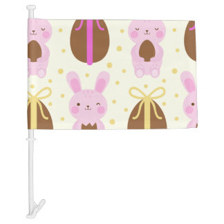 Cute Easter bunnies and chocolate eggs pattern Car Flag