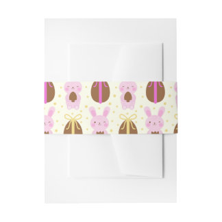 Cute Easter bunnies and chocolate eggs pattern Invitation Belly Band