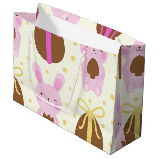 Cute Easter bunnies and chocolate eggs pattern Large Gift Bag
