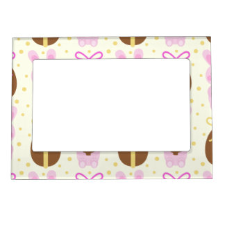 Cute Easter bunnies and chocolate eggs pattern Magnetic Picture Frame