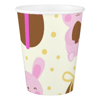 Cute Easter bunnies and chocolate eggs pattern Paper Cup