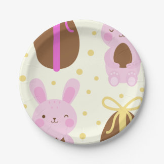 Cute Easter bunnies and chocolate eggs pattern Paper Plate