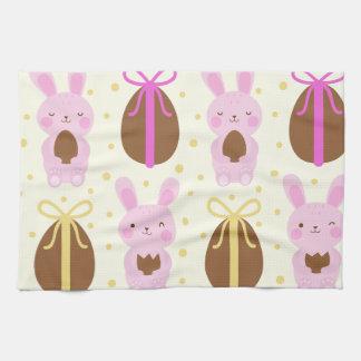 Cute Easter bunnies and chocolate eggs pattern Tea Towel