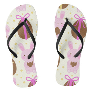 Cute Easter bunnies and chocolate eggs pattern Thongs